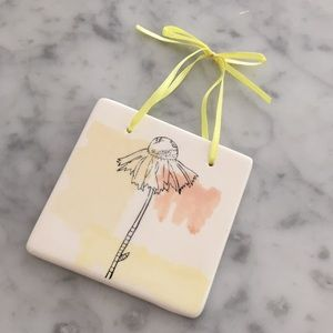 Other - Ceramic tile with flower design and ribbon 🎀
